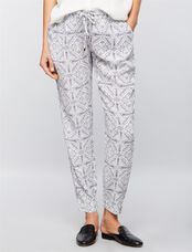 Ripe Under Belly Printed Jogger Maternity Pants, White/Black