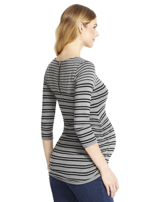 Jessica Simpson Striped Side Ruched Maternity Top, Grey/Black Stripe