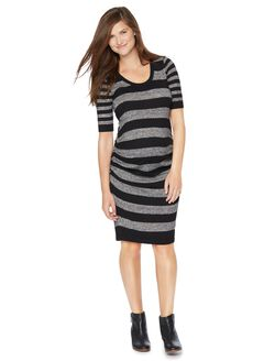 Ruched Maternity Sweater Dress, Black/White Marled