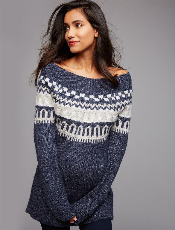 Fairisle Off The Shoulder Maternity Sweater, Navy Fair Isle
