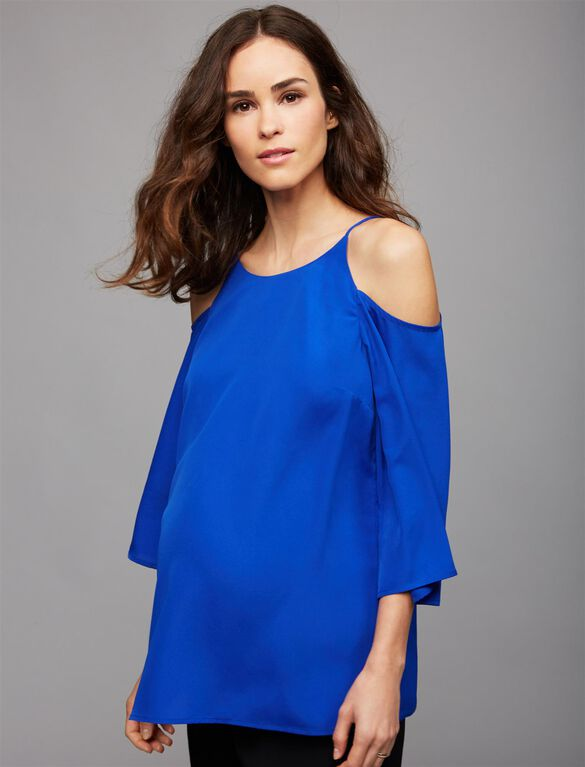Daniel Rainn Cold Shoulder Maternity Blouse, Blue