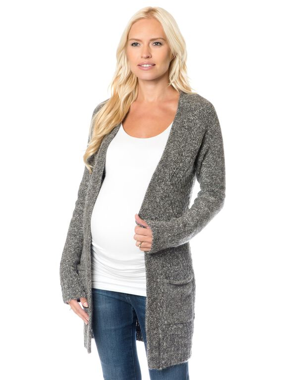 Equipment Long Sleeve Open Front Maternity Sweater, Marled Black