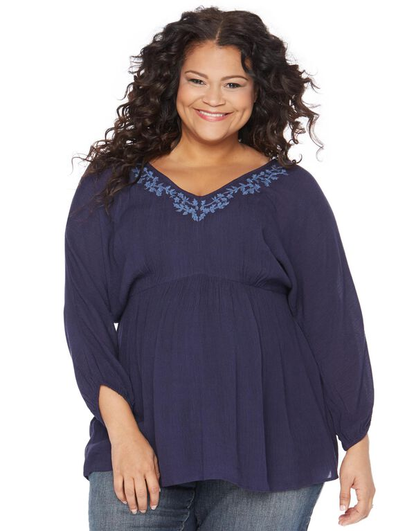 Plus Size Fit And Flare Maternity Blouse, Peacoat Navy
