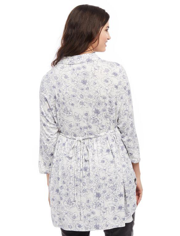 Plus Size Flutter Hem Maternity Top, Egret Wish Print