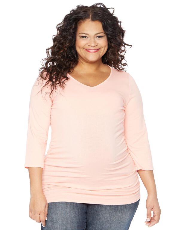 Plus Size Side Ruched Maternity T Shirt, Peach
