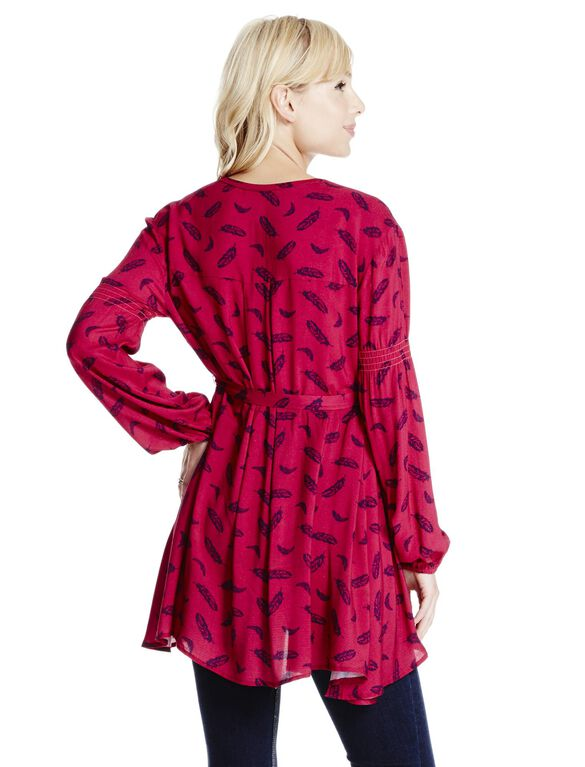 Jessica Simpson Printed Cut Out V-neck Maternity Top, Red Feather Print