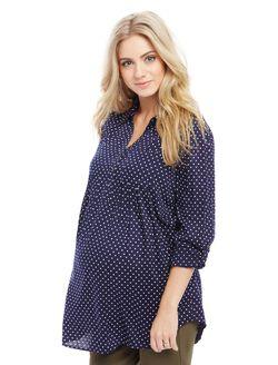 Front Pocket Maternity Shirt- Dot Print, Navy/White Dot