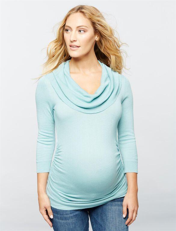Cowl Maternity Sweater, Antique Aqua