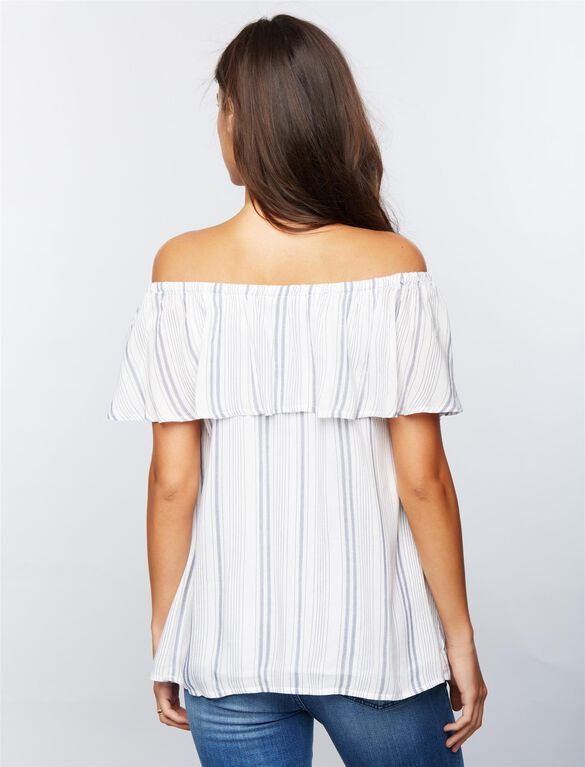 Luxe Essentials Denim Ruffled Off The Shoulder Maternity Top, Striped