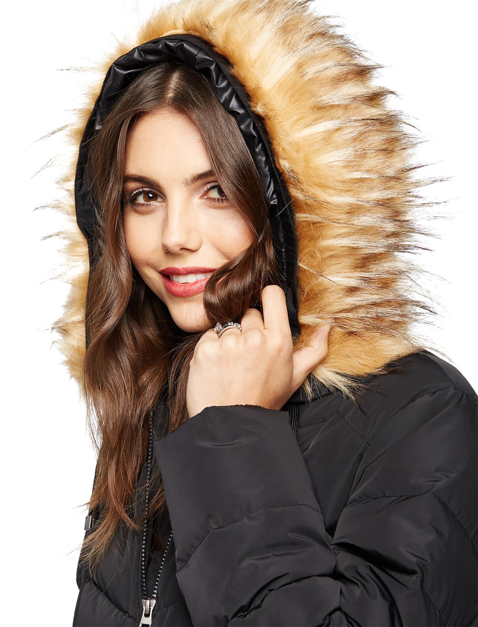 Faux Fur Hood Maternity Puffer Coat