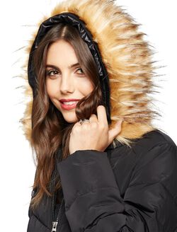 Faux Fur Hood Maternity Puffer Coat, Black