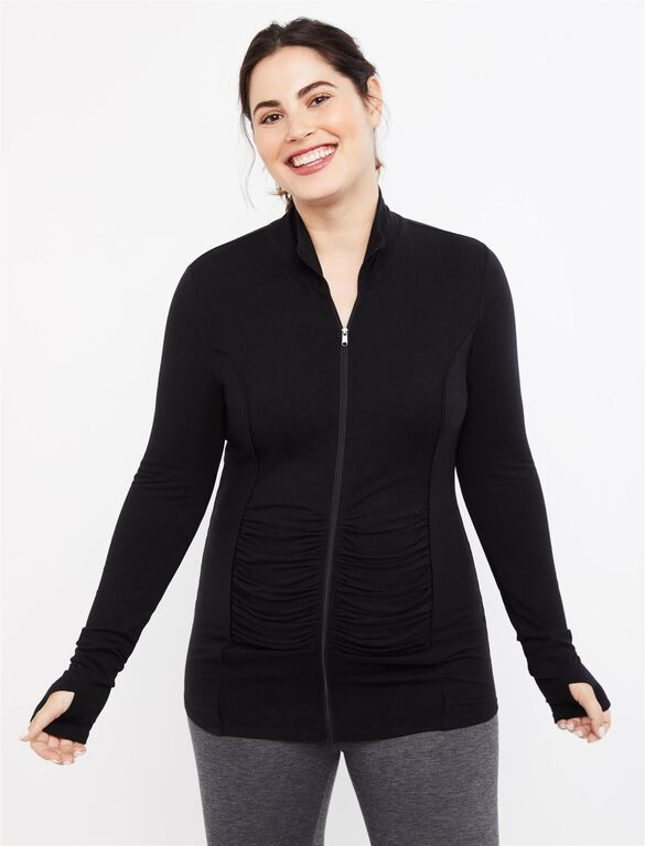 Zip Front Maternity Active Jacket, Black