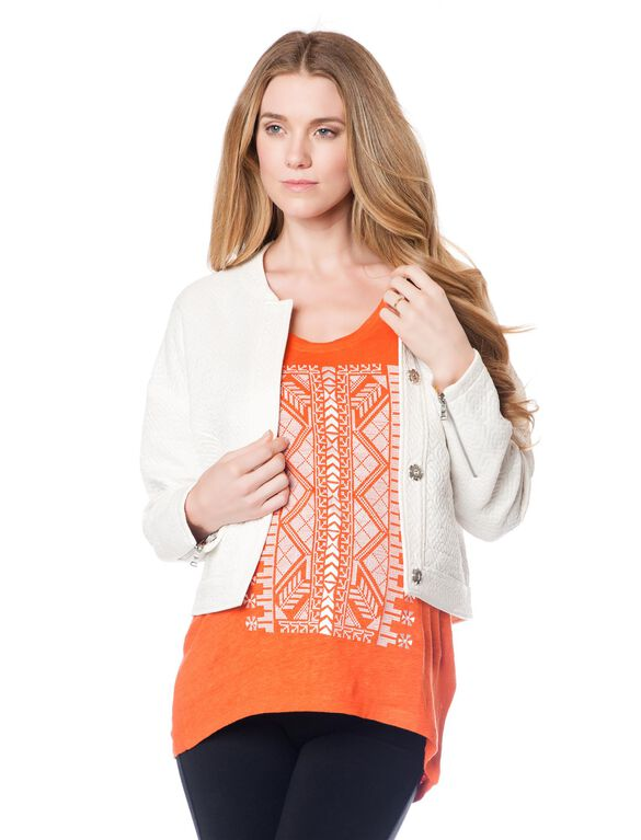 Rebecca Minkoff Reversible Cotton Woven Maternity Jacket, White/Printed Lining
