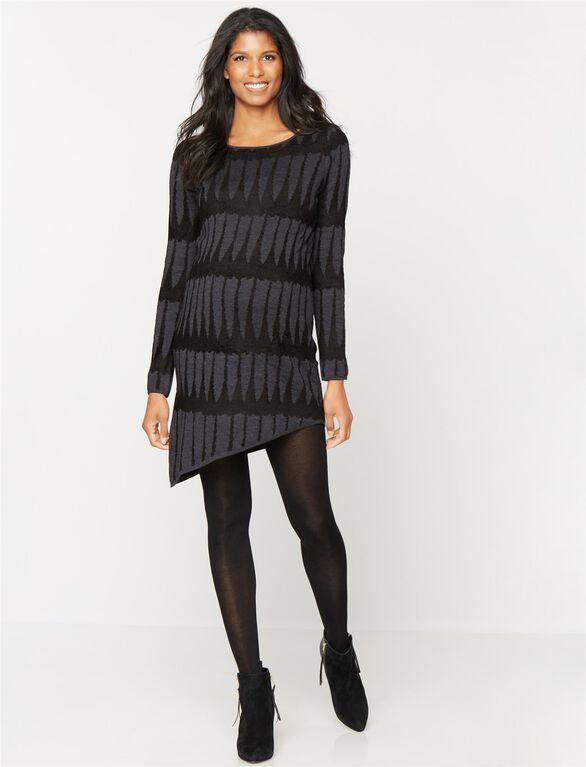360 Cashmere Maternity Sweater Dress, Black/Charcoal