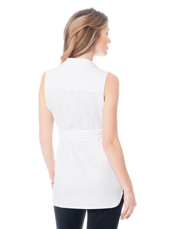 Tie Detail Maternity Shirt, White