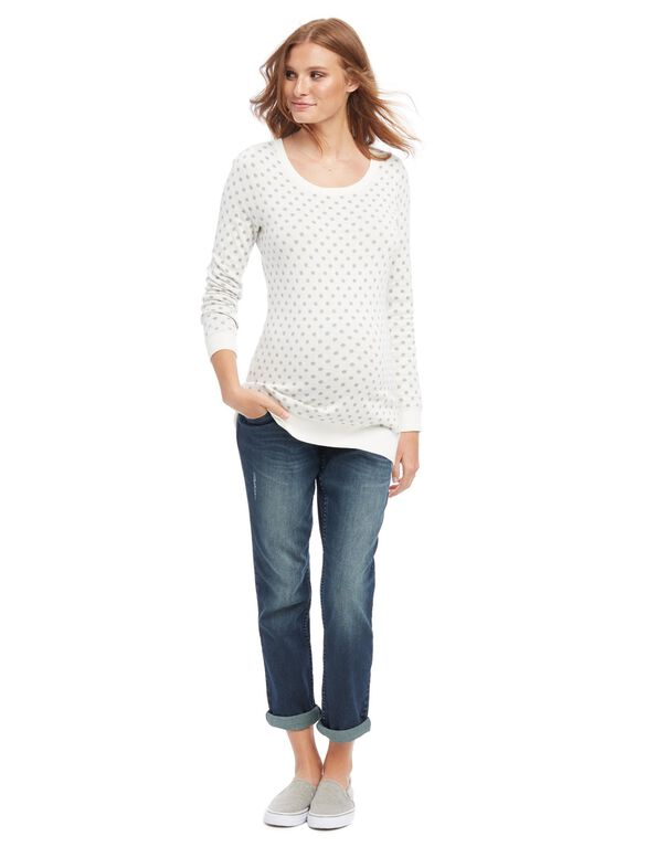 Dot Maternity Sweater, Grey/White Dot