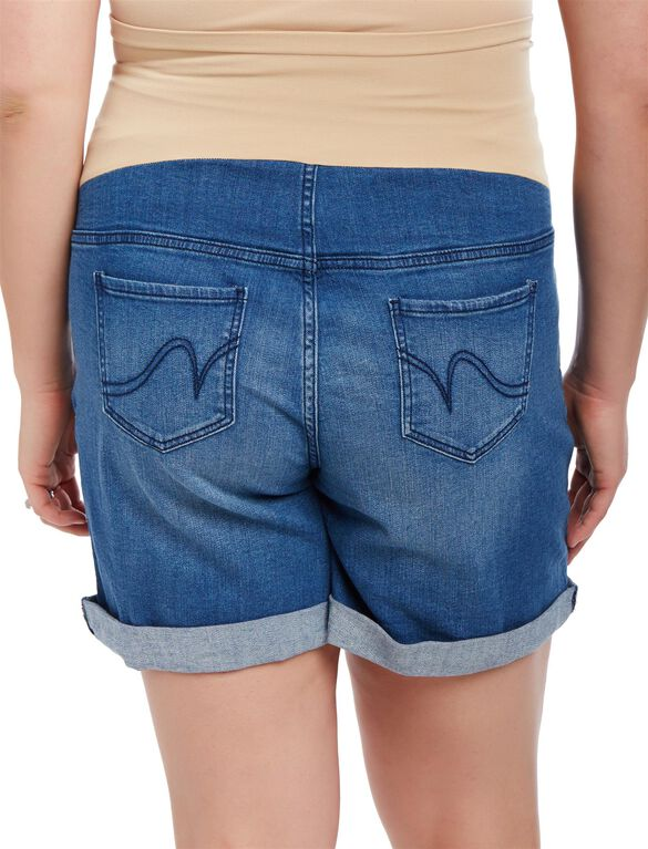 Plus Size Secret Fit Belly Roll Hem Maternity Shorts, Medium Wash