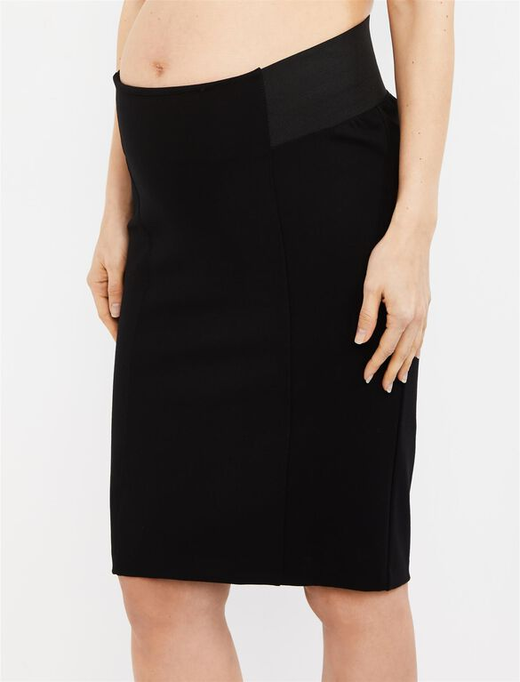 Under Belly Ponte Pencil Fit Maternity Skirt, Black