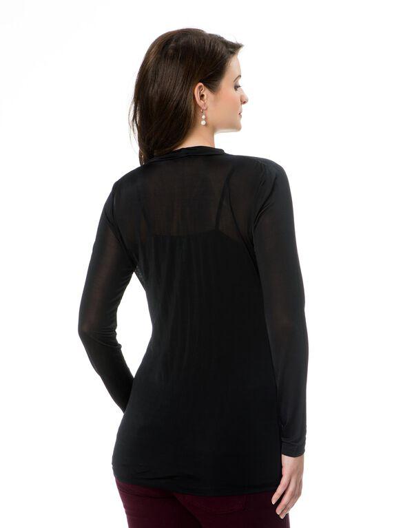 Long Sleeve Drape Neck Maternity T Shirt, Black