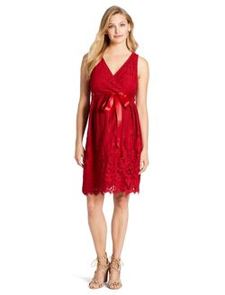 Web Only Jessica Simpson Lace Maternity Dress, Red