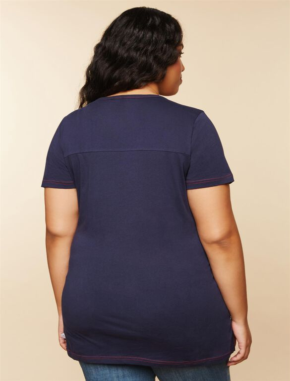 Plus Size Ruched Maternity T Shirt, Blue Texans