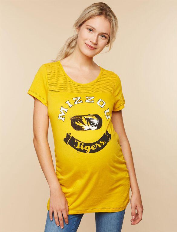 Missouri Tigers NCAA Mesh Detail Maternity Tee, Missouri