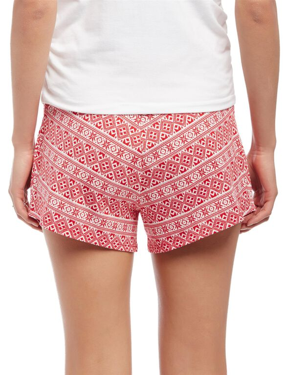 Relaxed Fit Maternity Sleep Shorts- Fairisle, Fair Isle Print