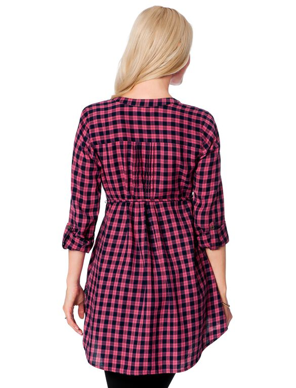 Lace Trim Maternity Shirt, Pink Plaid