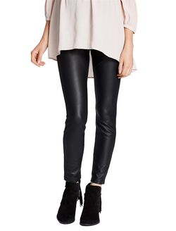 Jessica Simpson Secret Fit Belly Faux Leather Maternity Leggings, Black