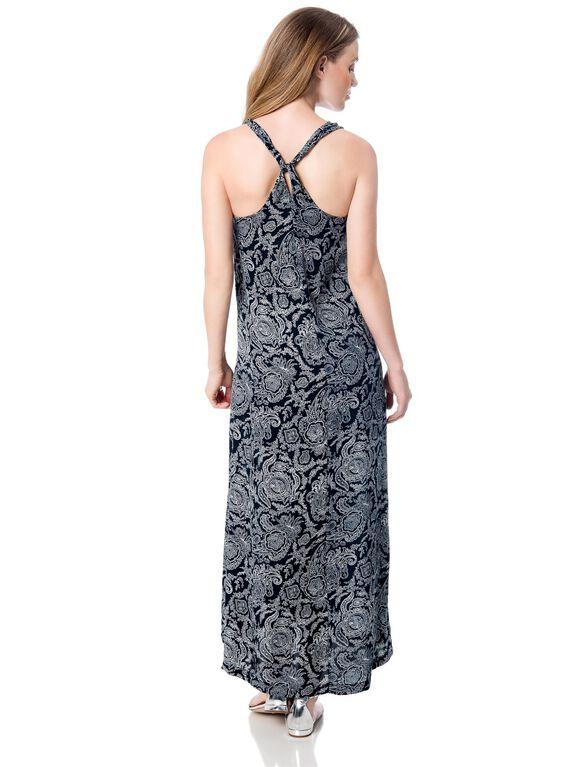 Paisley Print Maternity Dress, Light Navy/Ivory