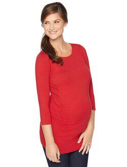 Stitch Detail Maternity Tunic, Red