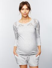 Eyelet Maternity Sweatshirt, Heather Grey