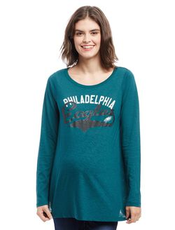Philadelphia Eagles NFL Long Sleeve Maternity Graphic Tee, Eagles Green
