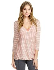 Jessica Simpson Pull Over Wrap Nursing Top, Peach/White