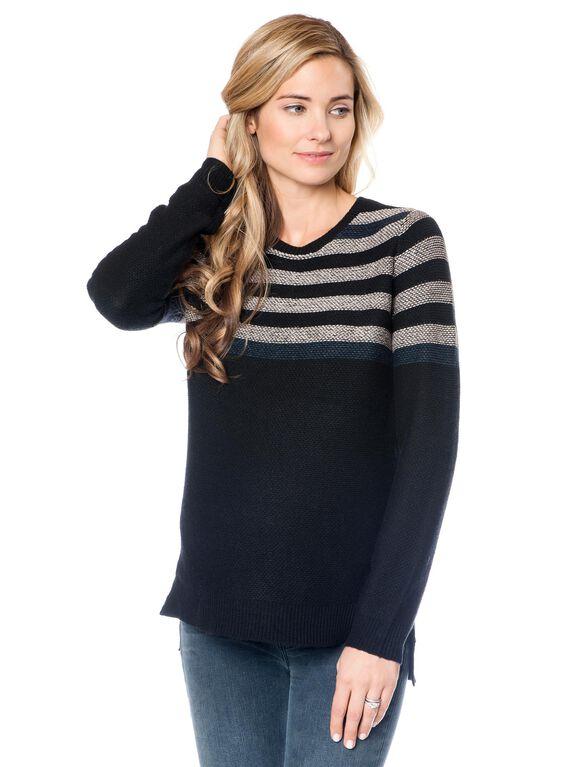 BCBGMAXAZRIA Striped Maternity Sweater, Black