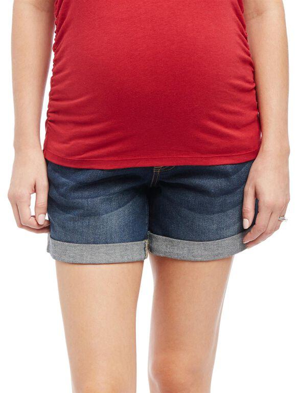 Indigo Blue Secret Fit Belly Roll Hem Maternity Shorts, Medium Wash
