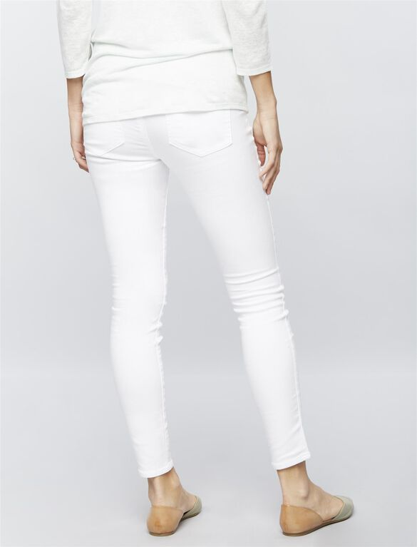 Luxe Essentials Denim Secret Fit Belly Skinny Ankle Maternity Jeans, White Denim