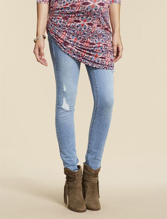 Jessica Simpson Secret Fit Belly Skinny Leg Maternity Jeans, Light Destructed