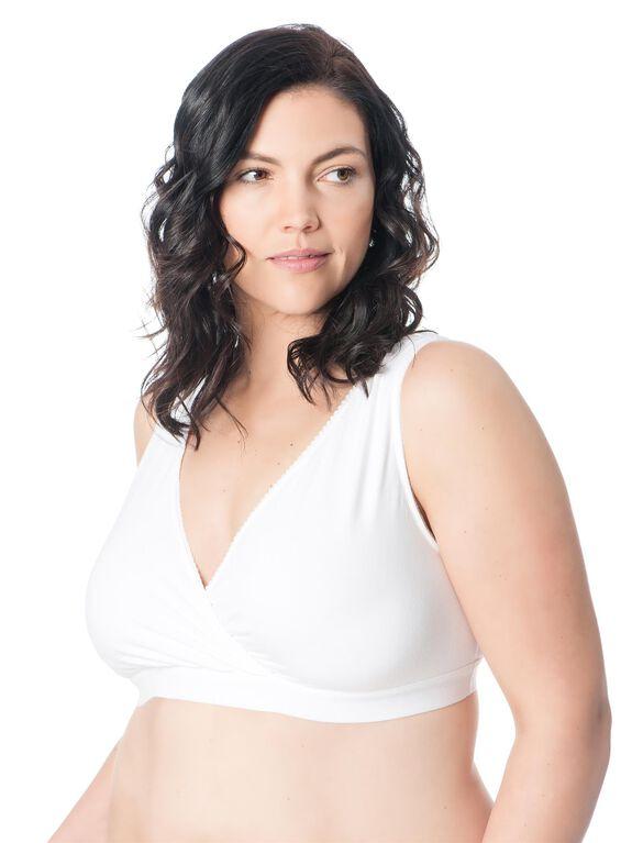 Plus Size Wrap Nursing Sleep Bra, White