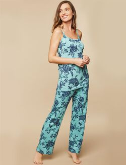 Maternity Sleep Pants, Navy Green Floral