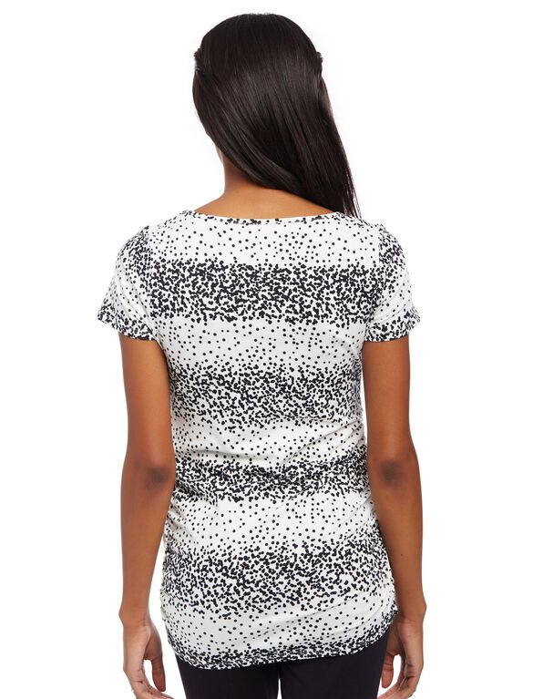Side Ruched Maternity Tee, Egret Dot Print