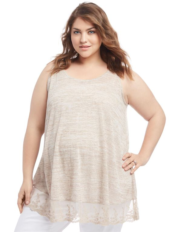 Plus Size Lace Trim Maternity Tank Top, Tan