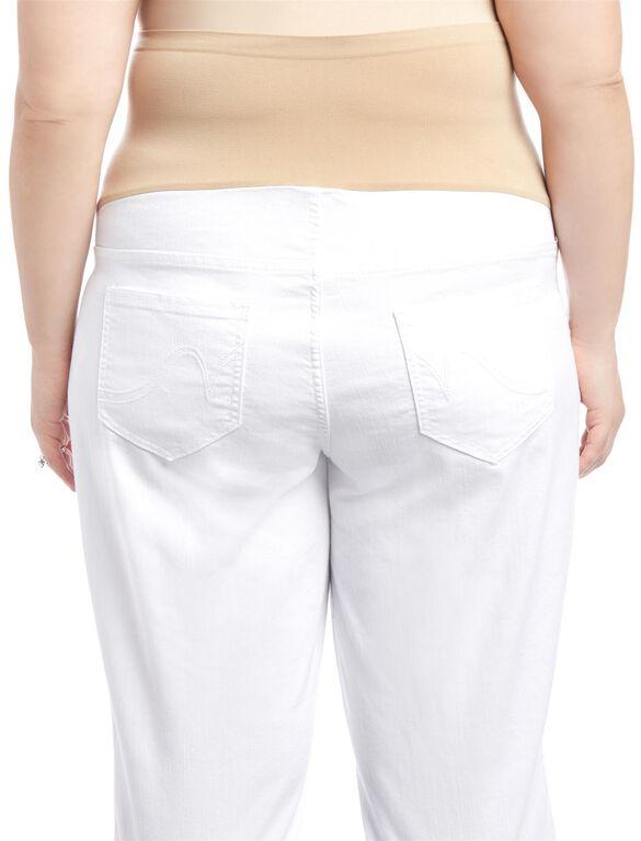 Plus Size Secret Fit Belly Straight Leg Maternity Crop Jeans, White