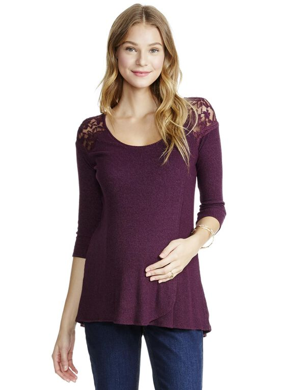 Jessica Simpson Lace Pull Over Nursing Top- Purple, Purple