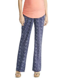 Jessica Simpson Under Belly Wide Leg Maternity Pants- Navy/White, Navy/White