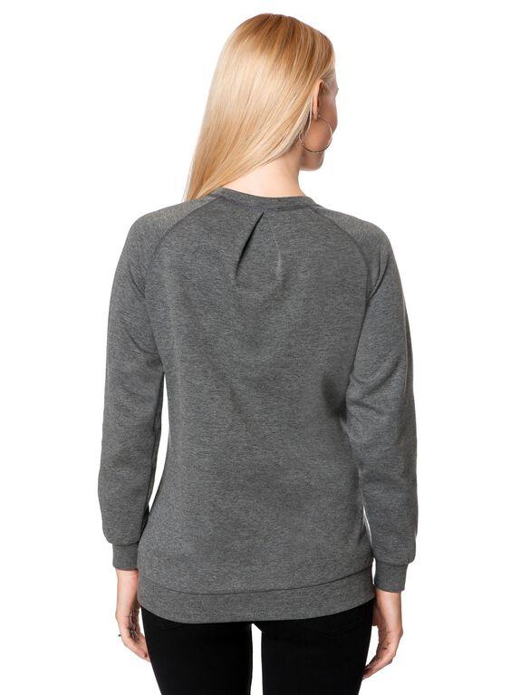 Necklace Trim Maternity Sweatshirt, Nickel