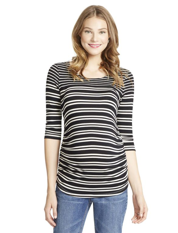 Jessica Simpson Striped Side Ruched Maternity Top, Black/White Stripe