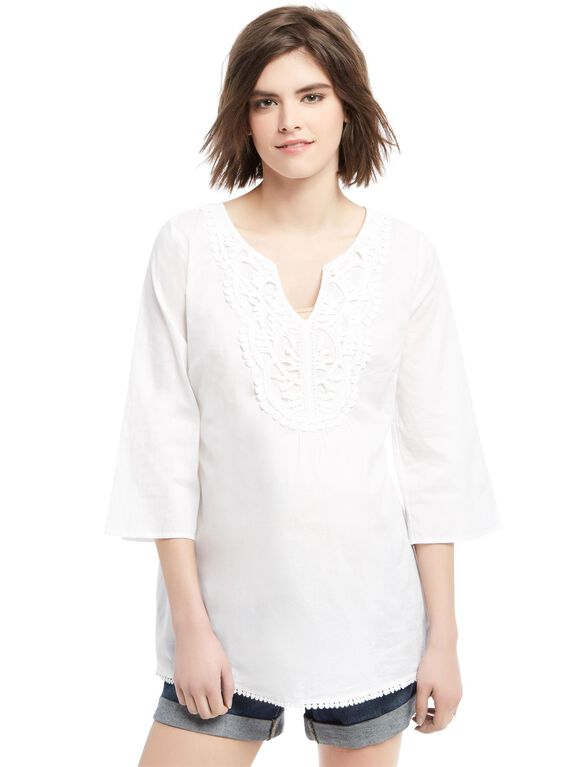 Tie Front Maternity Tunic, White