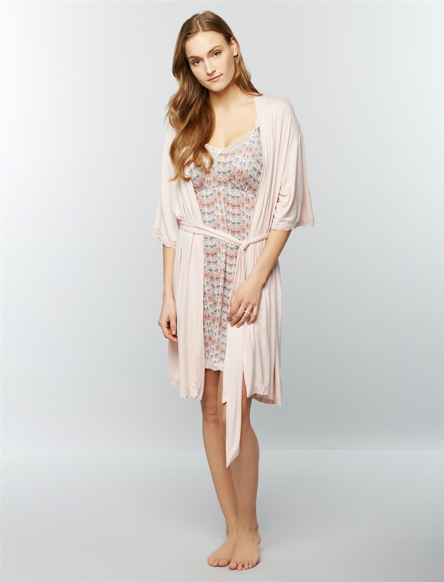 Clip Down Nursing Nightgown and Robe- Feather