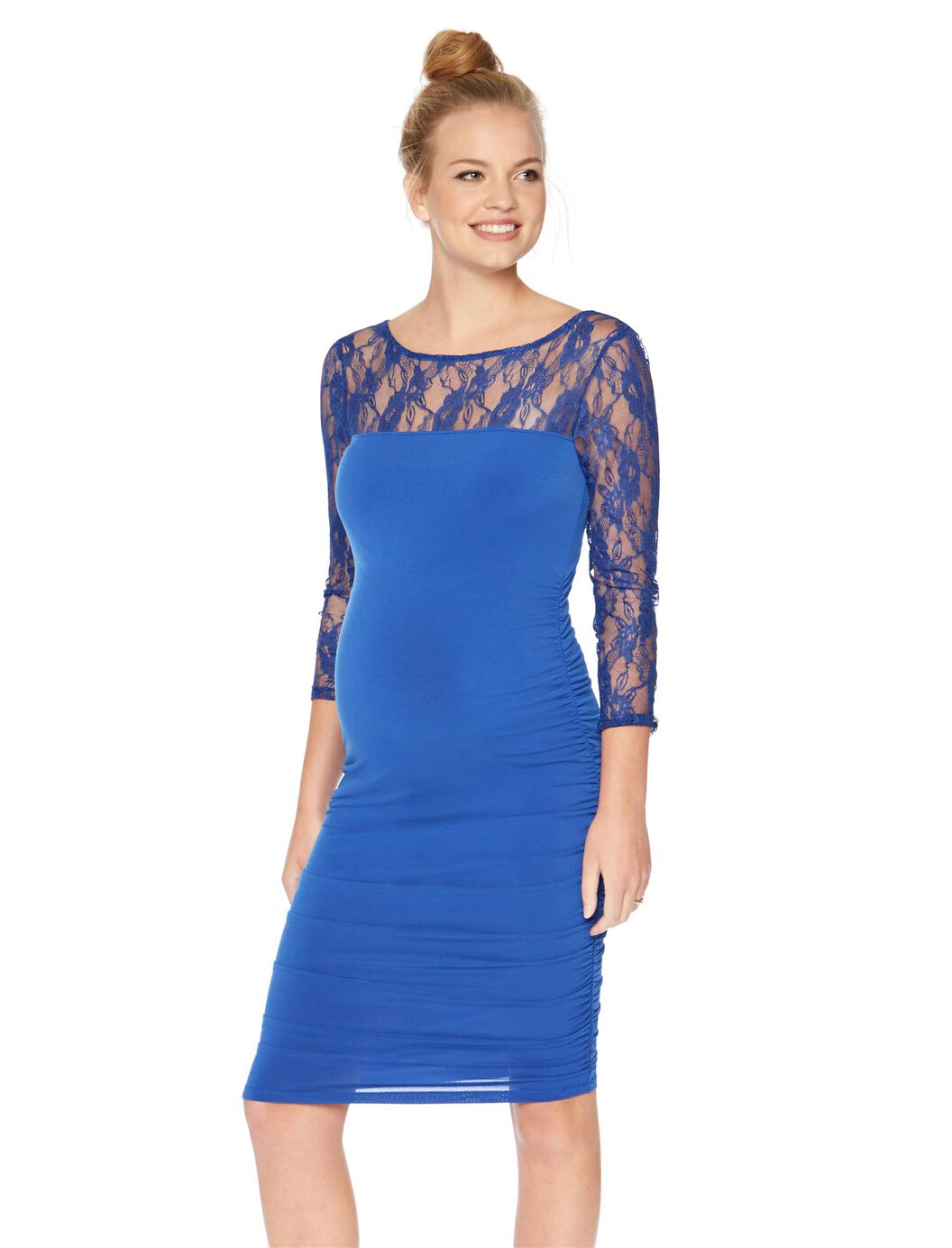 Lace sleeve ruched maternity dress blue motherhood maternity lace sleeve ruched maternity dress blue blue ombrellifo Choice Image